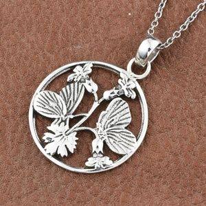 Sterling Silver Butterfly Pendant With Stainless S
